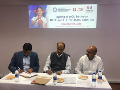 Signing of MoU between NCFE and Learning Link Foundation on Implementation of Financial Literacy and Financial Inclusion